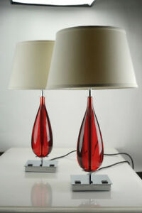 Pair of Red Chrome Table Lamps - High Quality with Power Outlets