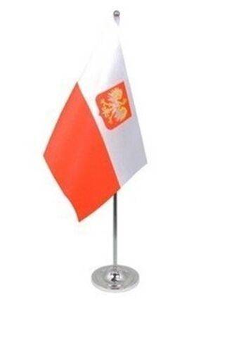 """POLAND WITH EAGLE CREST DELUXE SATIN TABLE FLAG 9""""X6"""" CHROME POLE & BASE POLISH"""