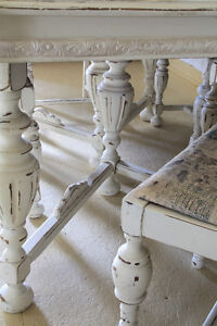 ANTIQUE DINING TABLE, 6 CHAIRS, REFINISHED, FRENCH COUNTRY STYLE