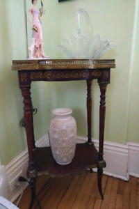 Antique Walnut  Ornate Small Table with Brass Rail