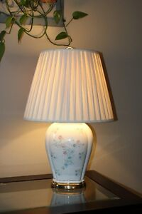 White Table Lamp with Flower Pattern