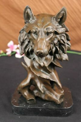 Real Bronze Metal Statue / Marble Base Howling Wild Timber Wolf Coyote - Statue Marble Base