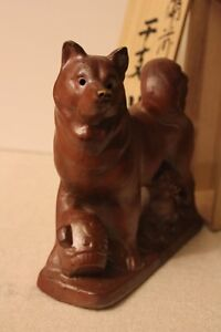 Antique Chinese zodiac, Dog statue with glaze made in Japan