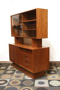 Superb Mid Century Modern Petite Teak China Cabinet SEE VIDEO
