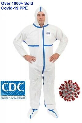 Viroguard Protective Coverall Ppe Tyvek Hazmat Bunny Suit W Hoodboots - Size L