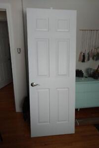 2 Doors Portes, 1 solid wood pocket door, 1 hollow core white