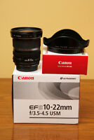 Canon 10-22 F3.5-4.5 USM lens with hood