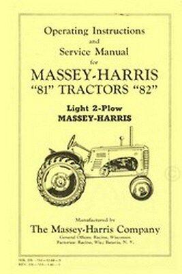 Massey Harris 81 82 Tractor Operators Service Manual