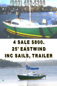 25' EASTWIND SLOOP 4 SALE $800.  SAILS, RIGGING &TRAILER