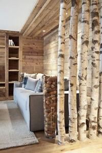 Decorative logs, feature wall treatment, wood blocks, and stumps