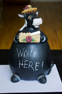 Ceramic cow you can write on with chalk
