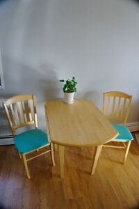 Solid wood dining table with two chairs