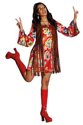 Flower Power Hippie Fransen Damenkostüm NEU - Damen Karneval Fasching (Fransen Hippie Kostüm)