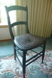 ladder back chair wood with cane seat 1900s