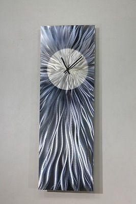 Statements2000 Metal Wall Art Clock Abstract Modern Grey Blue Decor by Jon Allen