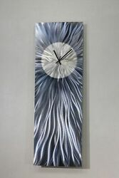 Modern Abstract Blue/Gray Metal Wall Clock - Contemporary Metal Wall Art Decor
