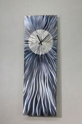 Abstract Grey Metal Wall Clock Art Functional by Jon Allen - Steel Grey Vortex