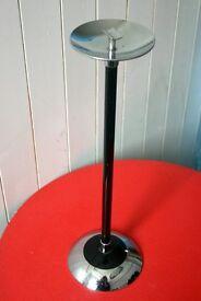 Retro Vintage 50's Black / Chrome Lanthne Floor Standing Ashtray Smoking Collectables