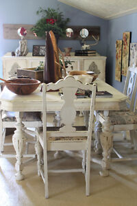 ANTIQUE DINING TABLE, 6 CHAIRS, REFINISHED, SHABBY CHIC