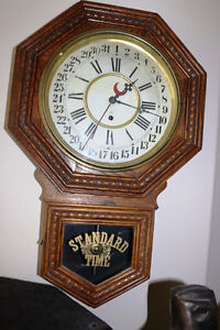 REDUCED VINTAGE GILBERT CLOCK COMPANY SCHOOL CALENDAR CLOCK