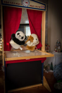 Puppet Theatre, Chalk and White board, Easel, + 8 puppets