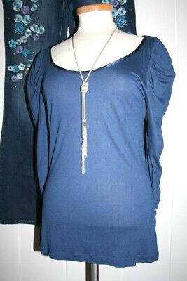 3/4 Puff Ärmel Pullover (❤️DUNNES*Shirt Pullover Puffärmel Viscose Bluse  Navy 3/4 Ärmel w NEU Gr:40)