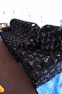 Couch & Chair Set, Black w/ Flowers