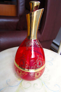 Murano Hand-Blown Glass Carafe/Decanter, Red & Gold