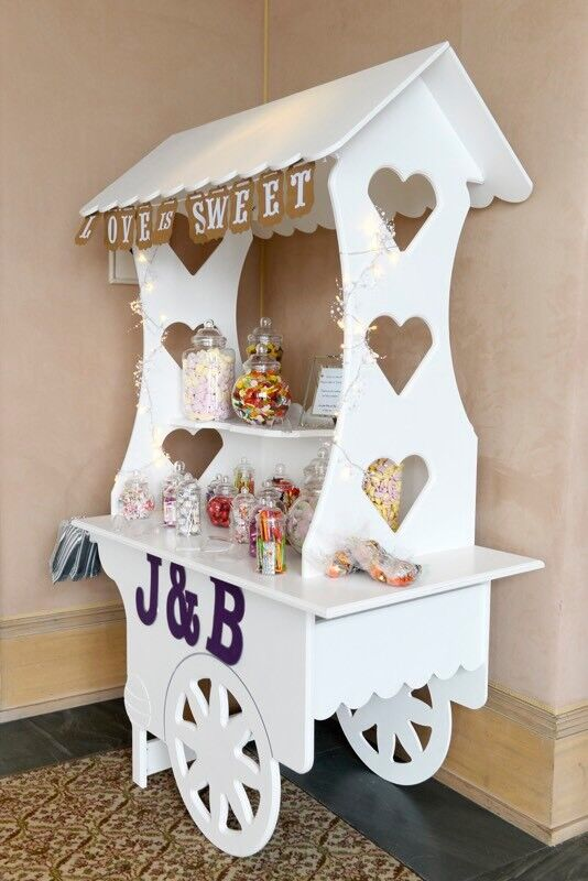 Beautiful wooden sweetie cart with jars - wedding essential/business opportunity
