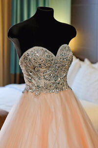coral pink ball gown with beaded bodice