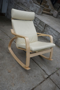 Ikea Poang Rocking Chair - Off-White Leather