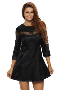 NIP Lace Overlay Sleeved Skater Dress M/L