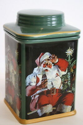 Christmas Santa Cookie Jar Stoneware Canister 2002 Coca-Cola Sakura