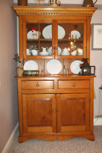 Antique Mennonite Pine Flat to the Wall China Cabinet Circa 1870