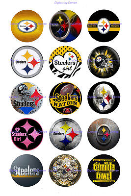 """PITTSBURGH STEELERS  30 BOTTLE CAP IMAGES  1"""" CIRCLES *****FREE SHIPPING*****"""