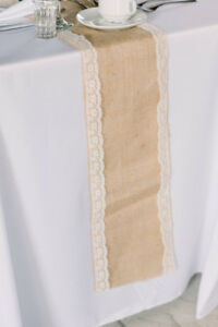 Tablecloths, linens, napkins, table runners, lace bows- Wedding