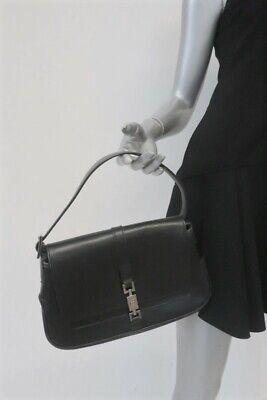 Gucci Jackie O Flap Bag Black Leather Small Hobo Shoulder Bag