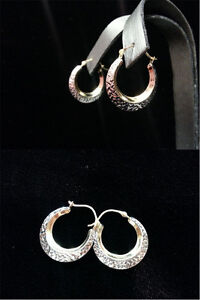 14k gold diamond cut hoop earrings!