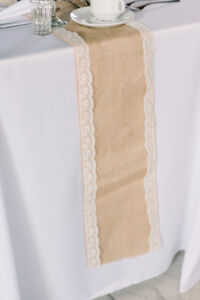 Burlap table runners with lace