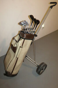 Golf Clubs and hand cart