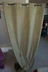 2x Sage (Light Green/Brown) Curtain Panels
