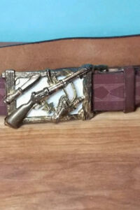 Vintage western cowboy style leather belt with buckle