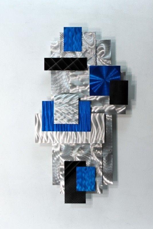 Metal Abstract Modern Blue Painted Wall Art Decor