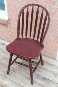 Red wooden dining chair