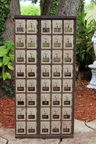Vintage Antique 40 Door US Post Office Mail Box Cabinet Vintage Storage