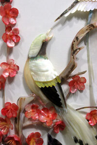 Chinese cut shell birds, flowers shadowbox signed art West Island Greater Montréal image 4