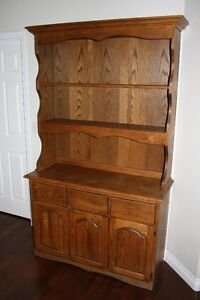 Solid oak buffet with removable hutch