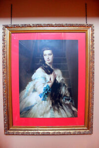 Very large framed print by Winterhalter, antque gold leaf frame
