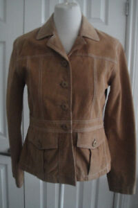 WILSONS LEATHER Womens Jacket Size M Solid Tan Leather Suede