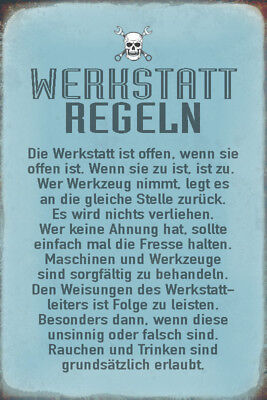 Werkstatt Regeln Blechschild Schild gewölbt Metal Tin Sign 20 x 30 cm